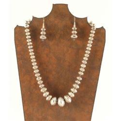 Navajo Sterling Silver Beaded Necklace & Earrings