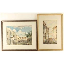 Lot of 2 Original Watercolors on Paper