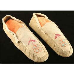 Pair of Sioux Embroidered Moccasins