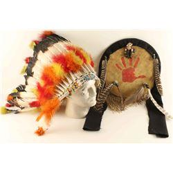 Native American Headdress & Shield