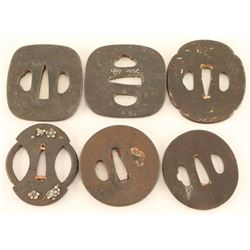Collection of 6 Tsuba Guards