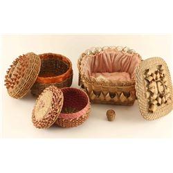 Lot of 3 Ojibwe Basket