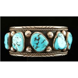 5 Stone Turquoise Nugget Cuff