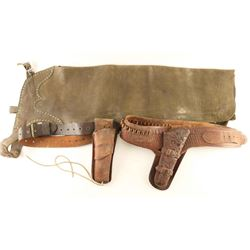 Lot of 2 Gun Rigs & Leather Chaps