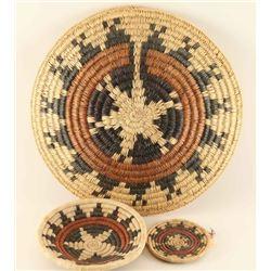 Three Hopi Basketry Trays