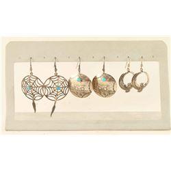 3 Pairs of Sterling earrings