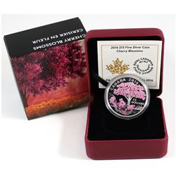 2016 Canada $15 Cherry Blossoms Fine Silver Coin (Tax Exempt).