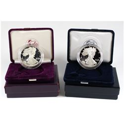 1988 & 1996 USA 1oz .999 Silver Proof Eagles in Display Boxes with Outer Box (1988 coin and capsule