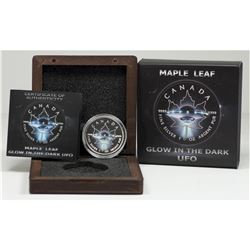 2017 $5 1oz Silver UFO, GLOW IN THE DARK Maple Leaf Coin, with Black Ruthenium (Tax Exempt).