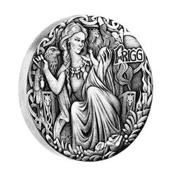 2017 Tuvalu $2 Norse Goddesses - Frigg 2oz. Antique High Relief (Tax Exempt).