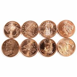 Lot of 8x Different Zombucks Design .999 Fine Copper Rounds. 8pcs (Tax Exempt)