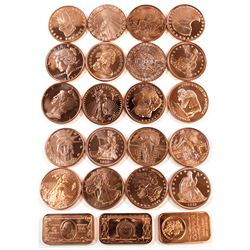 Group Lot of Copper Rounds and Bars. Includes 20x Rounds and 3x bars - all different designs. 23pcs