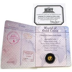 2004 China 1/20oz Fine Gold Panda (Tax Exempt). Comes encapsulated in a World of Gold Coins Passport