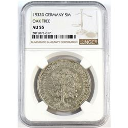 1932D Germany 5-Mark Oak Tree NGC Certified AU-55.