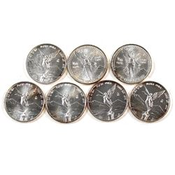 1992 Mexico Libertad 1/20oz Fine Silver Coins (Tax Exempt). Coins are lightly toned. 7pcs.