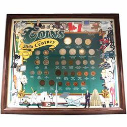 1900's to 2000 Canada Coins of the 20th Century Collection in Frame. You will receive 32 coins depic