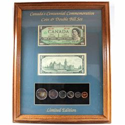 1967 Canada 1867-1967 Centennial Coin & Double Bill Set in Frame. You will receive the 1967 6-coin Y
