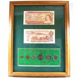 1974 Canada Coin and Banknote set in Frame. You will receive a 1974 6-coin year set and 2x 1974 $2 N