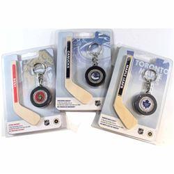 2009 $1 Montreal Canadiens, Ottawa Senators, Toronto Maple Leafs Mini Puck Keychain & Hockey Stick C