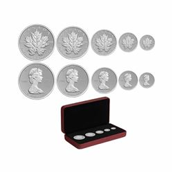 2013 Canada Silver Maple Leaf Anniversary 5-Coin Fractional Set (Tax Exempt).
