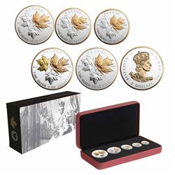 2016 Canada A Historic Reign Silver Maple Leaf 5-coin Fractional Set (Tax Exempt).