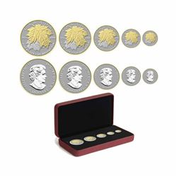 2014 Canada The Maple Leaf Fine Silver 5-Coin Fractional Set (Tax Exempt). Please note outer sleeve