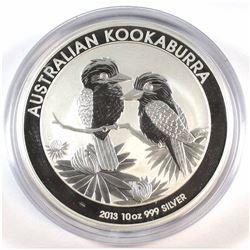 2013 Australia $10 Kookaburra 10oz Fine Silver Coin (Tax Exempt).