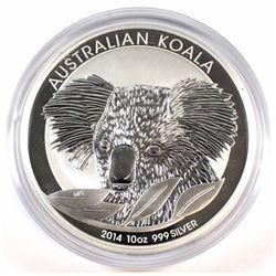 2014 Australia $10 Koala 10oz Fine Silver Coin (Tax Exempt).