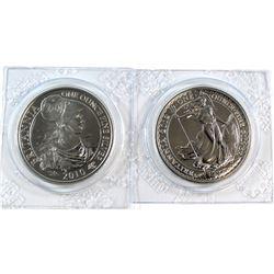2010 & 2012 Great Britain 2-Pound Britannia Fine Silver Coins (Tax Exempt). 2pcs.