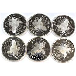 6x Sunshine Mint 1/2oz .999 Fine Silver Rounds (Tax Exempt). 6pcs