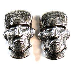 2x Beaver Bullion 1 1/2oz Fine Silver Frankenstein Art Bars (Tax Exempt). 2pcs.