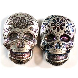 2x Monarch 2oz Fine Silver Coloured Sugar Skulls (Tax Exempt). 2pcs.