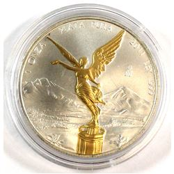2011 Mexico Libertad 1oz Fine Silver Coin with Gold Plating (Tax Exempt).