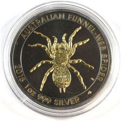 2015 Australia 1oz Fine Silver Funnel-Web Spider Ruthenium Gilded (Tax Exempt).