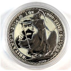 2014 Great Britain 1oz Fine Silver Britannia Coloured - Your Country Needs You (Tax Exempt).