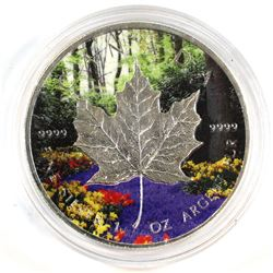 2014 Canada 1oz Fine Silver Maple with Coloured Summer Forest Design (Tax Exempt).