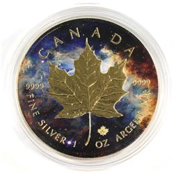 2017 Canada 1oz Fine Silver Maple with Gold Plating & Coloured Nebula Galaxy (Tax Exempt)