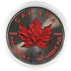 2016 Canada 1oz Fine Silver Ruthenium and Colorized Red Maple Leaf (Tax Exempt).