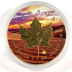 2017 Canada 1oz Fine Silver Maple with Gilded Desert Design (Tax Exempt)