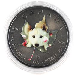 2015 Canada 1oz Silver Maple with Antique Finnish and Coloured Cute Puppy Theme (Tax Exempt).