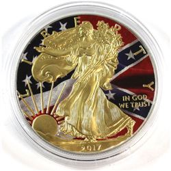2017 United States 1oz Gold Pleated Silver Eagle with Colourized Flag Theme (Tax Exempt).