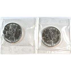 Pair of 2007 Canada 1oz Fine Silver Maples Sealed in Original Cellophane (Tax Exempt). 2pcs.