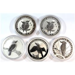 2001-2011 Australia 1oz Fine Silver Kookaburra Collection (Tax Exempt). You will receive 2x 2001, 20