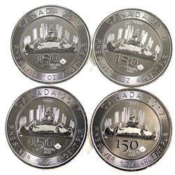 4x 2017 Canada 1oz Fine Silver 150th Special Edition Voyageur Silver (Tax Exempt). 4pcs.