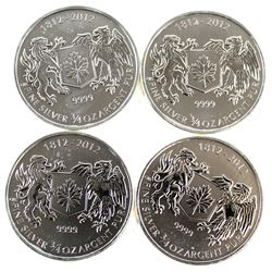 1812-2012 Canada 3/4oz. .9999 Fine Silver Commemorative Coins (Tax Exempt). Please note coins may ha