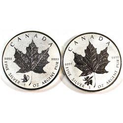 2016 Monkey & 2017 Moose Canada 1oz Privy Silver Maples (Tax Exempt). 2pcs.