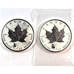 2016 Canada 1oz Fine Silver Monkey & Panda Privy Maples (Tax Exempt). 2pcs.
