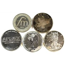 5x 1/2oz Fine Silver Round Collection (Tax Exempt). You will receive 2012 First Majestic, Liberty, 2