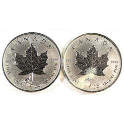 Pair of 2015 Canada Sheep Privy Mark $5 Silver Maple Leaf (Tax Exempt). Please note coins contain a