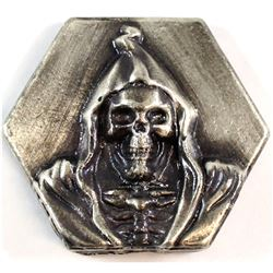 Beaver Bullion 4oz. .999 Fine Silver Antiqued Death Hexagon Art Bar (Tax Exempt).